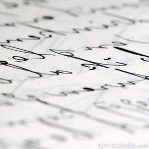 Documento escrito con tinta negra