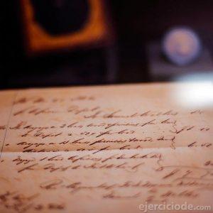 Carta escrita con pluma fuente