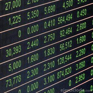 Pantalla del mercado de valores