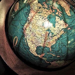 Mapa de América en globo