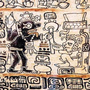 Iconografía maya sobre papel amate